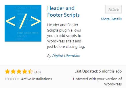 Header & footer scripts plugin