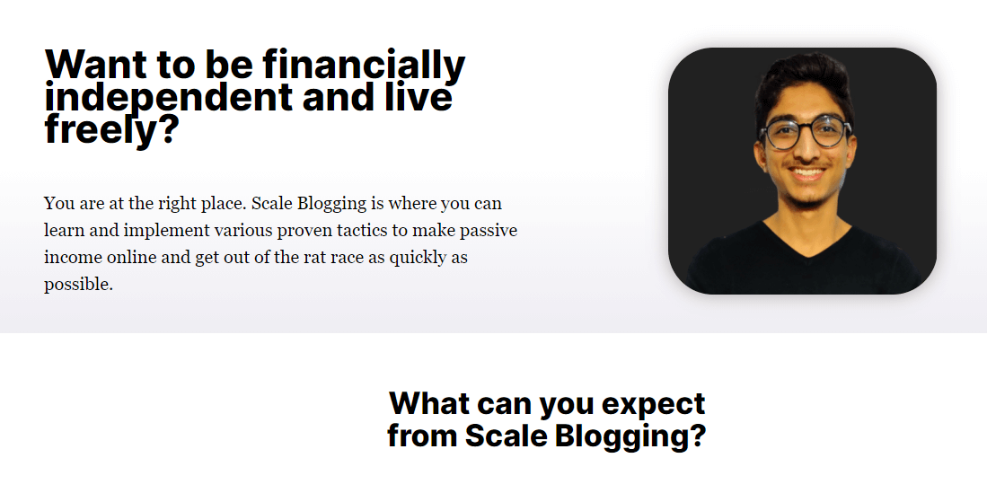 Scale Blogging about me page
