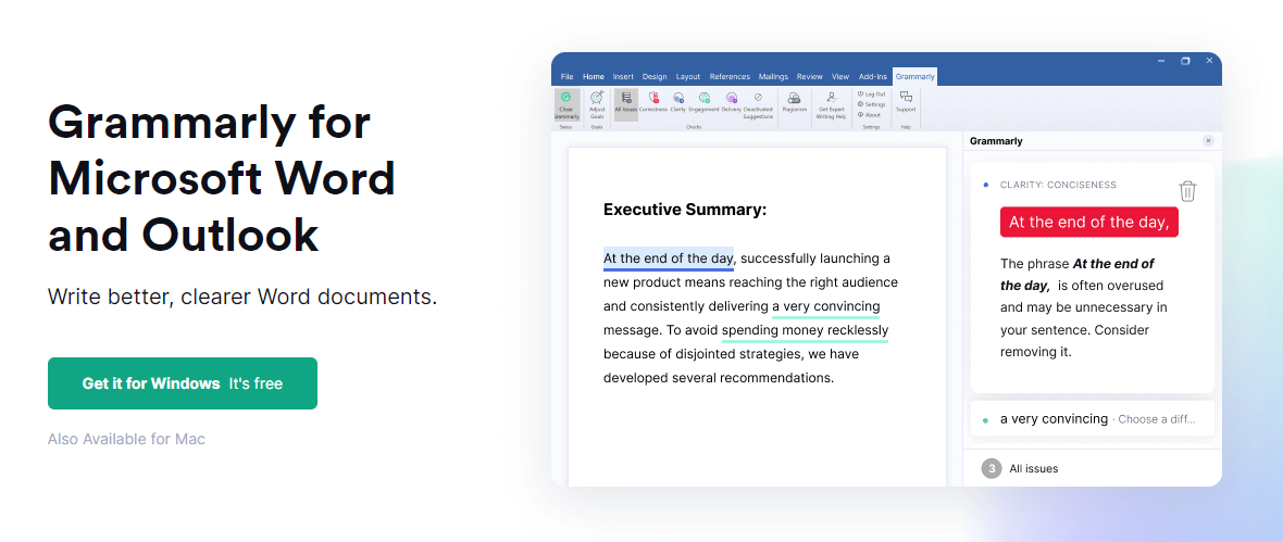 Grammarly addin for Microsoft Word