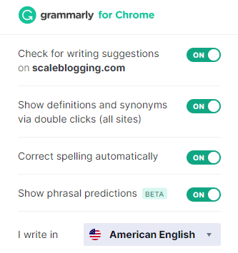 Grammarly extension settings