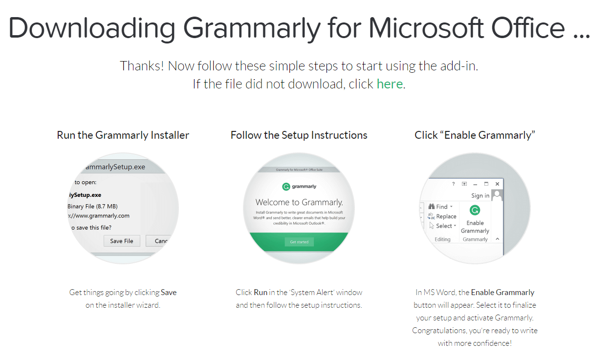 Grammarly for MS Word download page