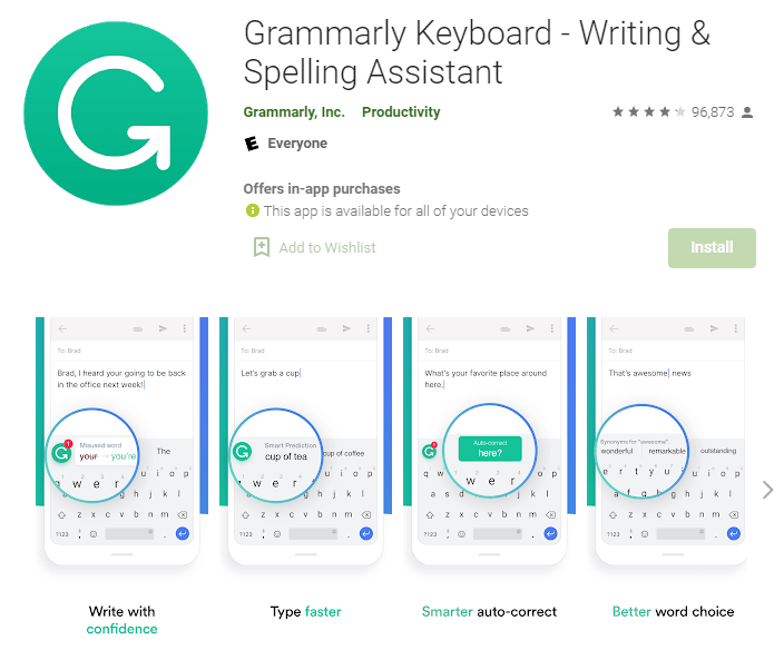 Grammarly keyboard app for mobile devices