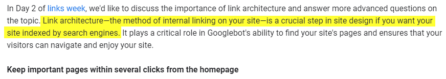 Importance of internal linking by Google