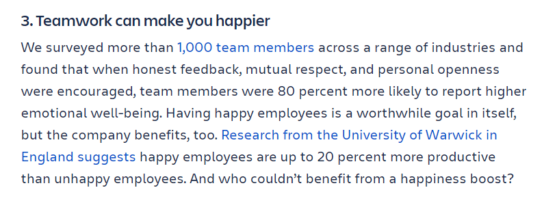 Teamwork can make you happier