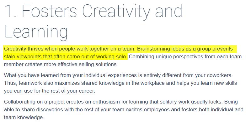 Teamwork helps in boosting performance in blogging