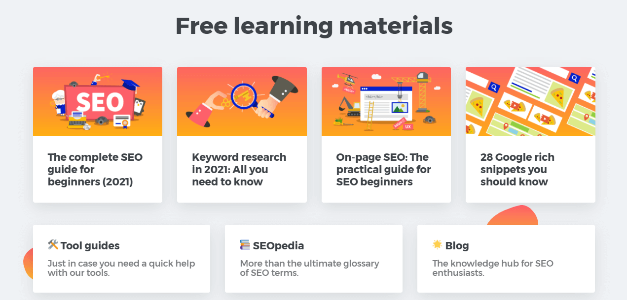 Free learning materials related to SEO by Mangools