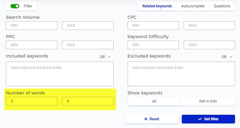 Keyword filter in KWFinder review