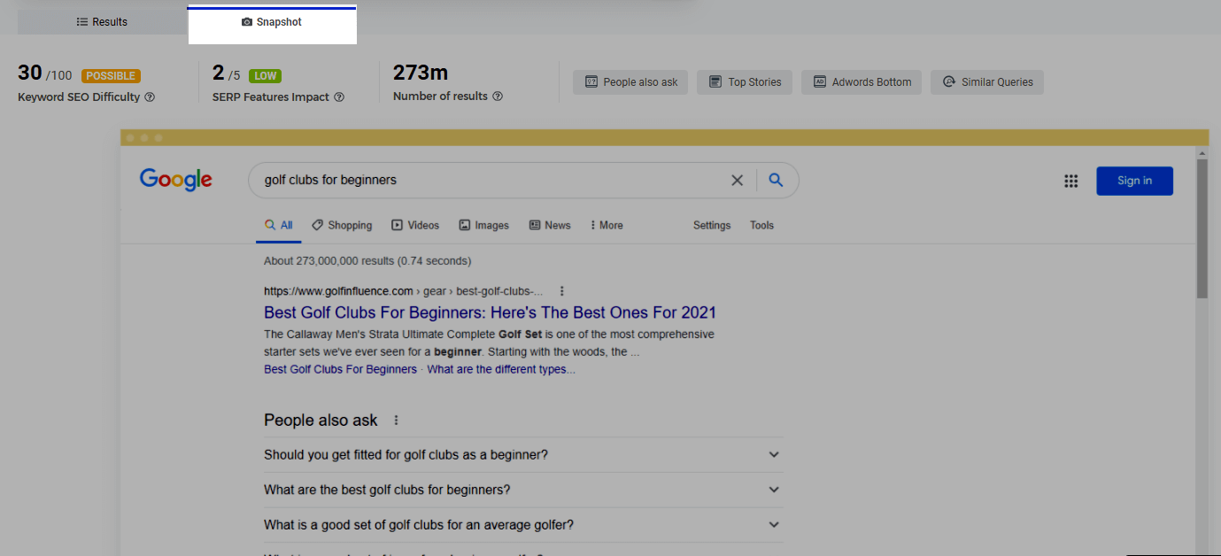 Snapshot of google search results