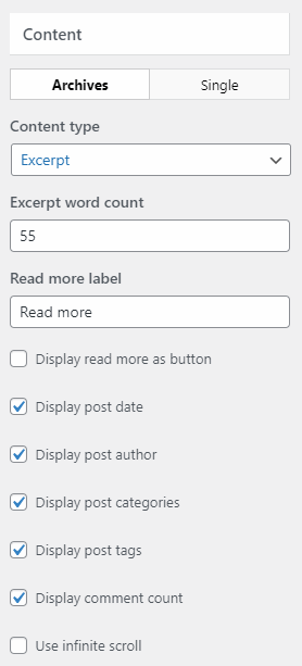 Blog and single page settings in wordpress