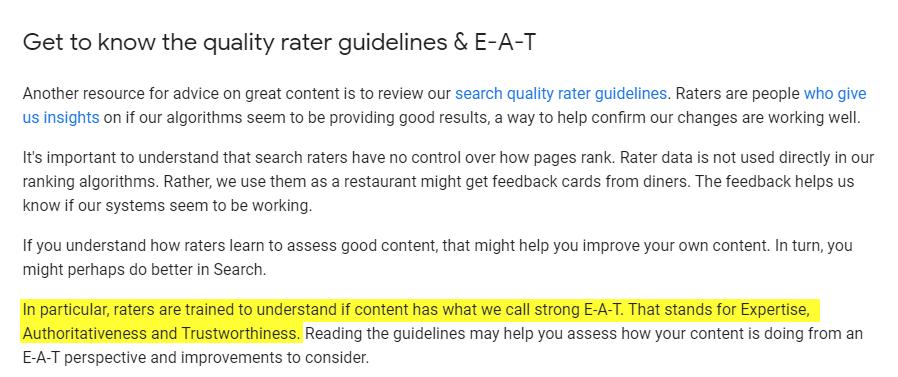 Google's EAT core algorithm