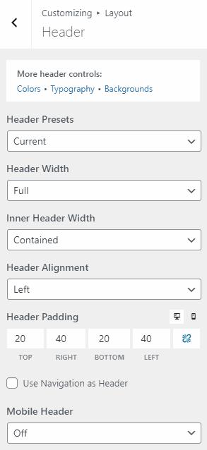 Header options in GeneratePress - GeneratePress review