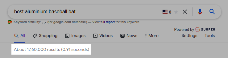 Total search results for a keyword in Google