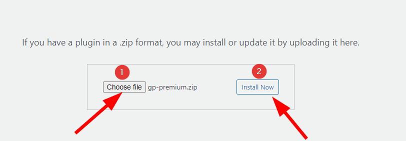 Upload generatepress zip file in upload plugin option