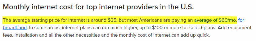Average cost of the internet in US