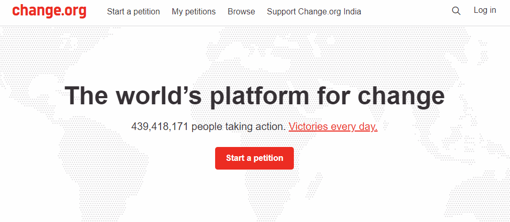 Change.org petition website